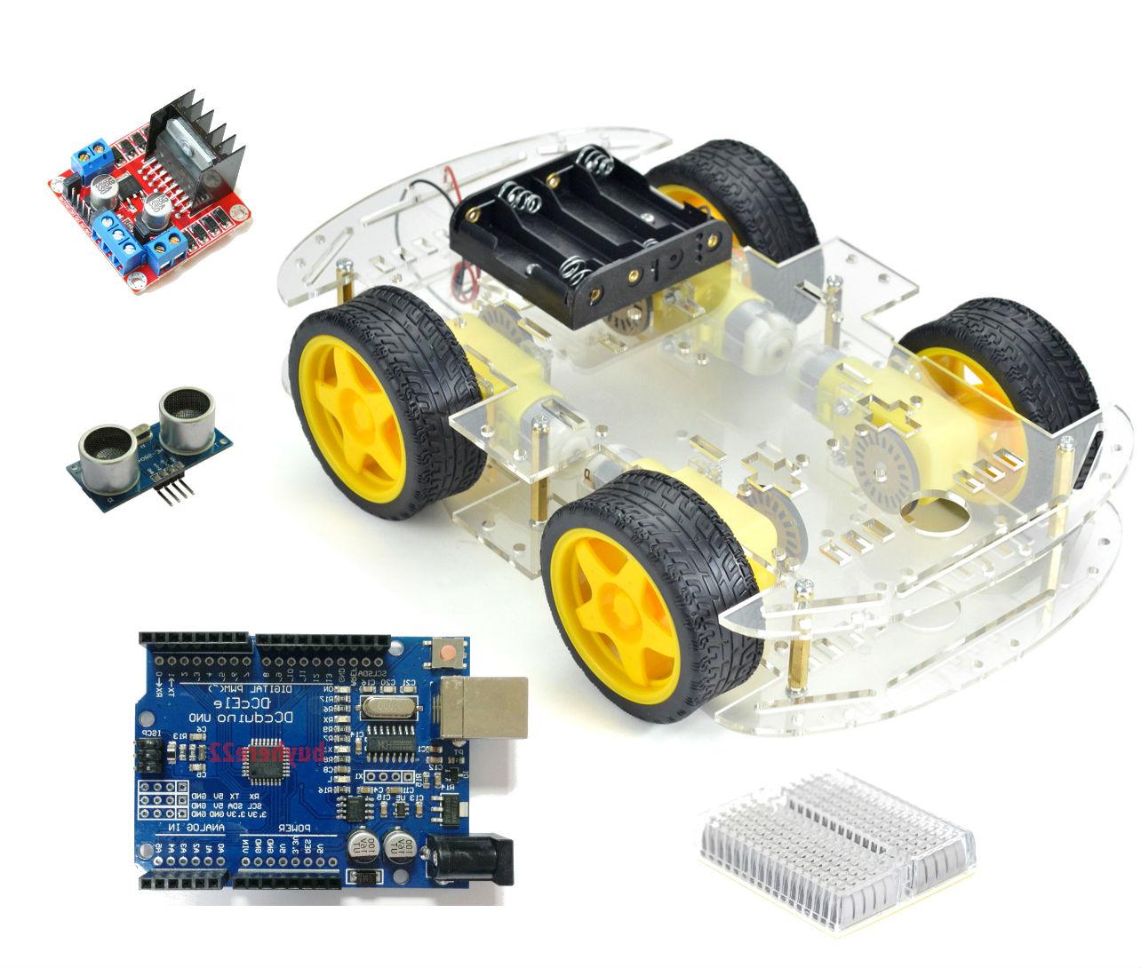 Kit motor smart robot wd car arduino hc sr driver